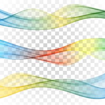 抽象的なバナー色波のセットセット波