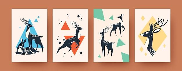スカンジナビアスタイルの鹿と抽象的なバナーのセットです。創造的な鹿の家族と角のある動物のイラスト。森の動物と野生動物の概念