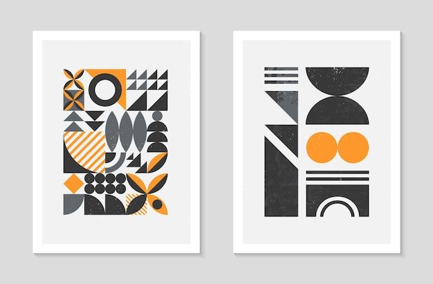 Набор абстрактных фонов геометрический узор баухаус. модный минималистский геометрический дизайн с простыми формами и элементами. современные художественные векторные иллюстрации середины века. скандинавский орнамент.