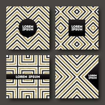 キラキラのゴールドの幾何学的な縞模様の背景上のテキストの抽象的な黒いスペースのセット。