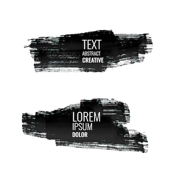 Set of abstract black watercolor stroke banners