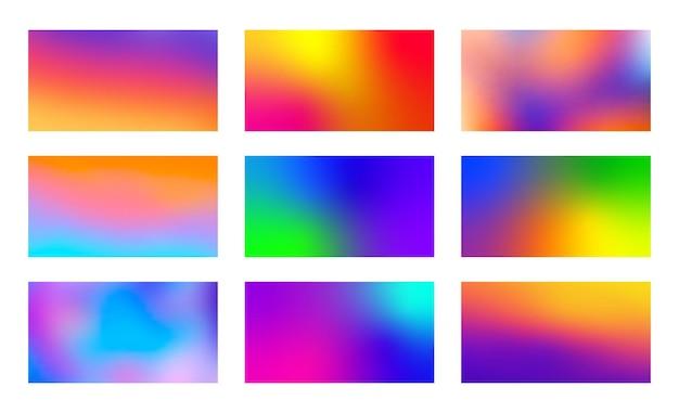 Набор абстрактных размытых фонов. коллекция современных красочных градиентных фонов.