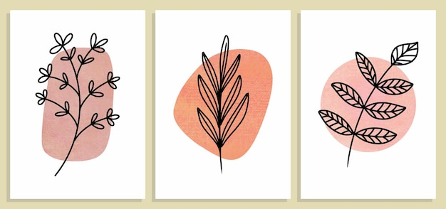 抽象的な植物の壁アート、抽象的な葉、自由奔放に生きる枝の植物アートのセット