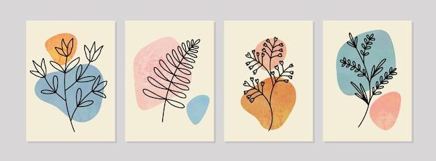 추상 식물 벽 예술, 초록 잎, boho 분기 식물 예술 세트