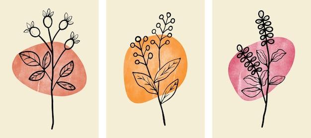 Набор абстрактного ботанического искусства стены с абстрактными листьями.