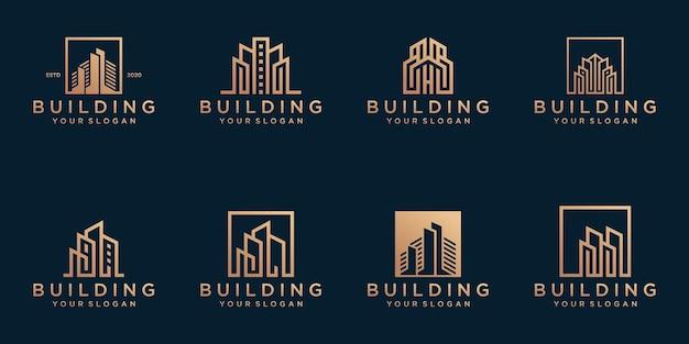 추상적 인 건물 로고 템플릿 집합