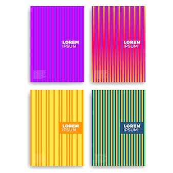 レイヤーが重なった抽象的なカードのセット。カバー、プラカード、ポスター、チラシ、バナーデザインに適用されます。