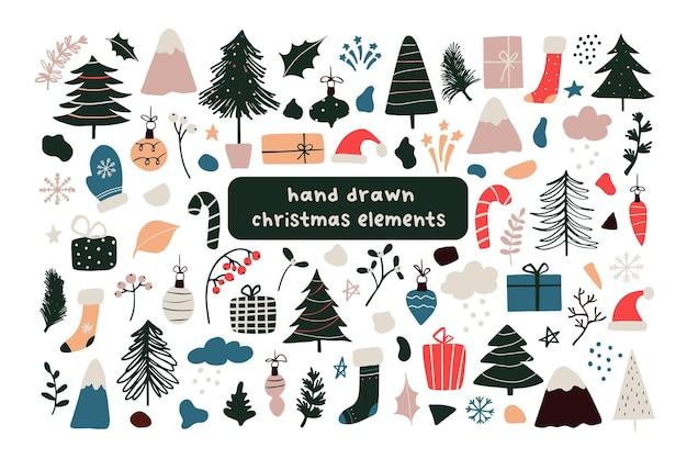 抽象的なクリスマス新年冬アイコンクリスマスツリー、ギフト、ボール、スノーフレーク、葉、枝、赤い果実、サンタ帽子、抽象的な幾何学的形状のセットです。ベクトルイラスト手描き落書きフラットスタイル