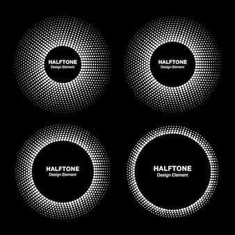 抽象的な円フレームハーフトーンドットのセット。ラウンドボーダーハーフトーンサークルドット。
