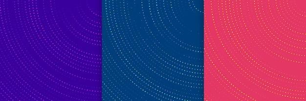キラキラ光るドットの組み合わせと抽象的な円形の重なり合うトレンディな色の背景のセット。