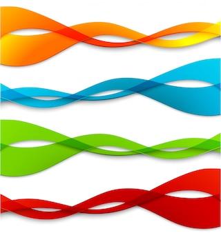 Набор абстрактных цветных волнистых линий