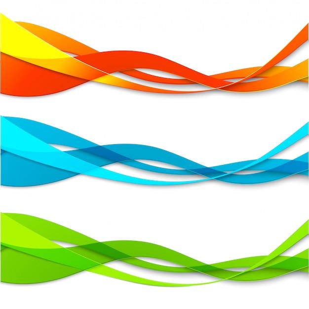 추상적 인 색 물결 선의 세트