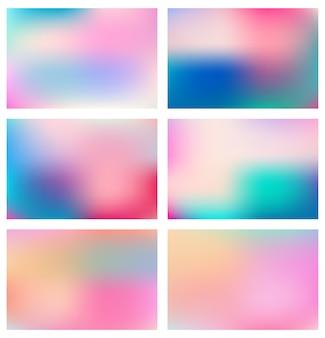 抽象的なカラフルなぼやけたブレンドグラデーションの背景のセット