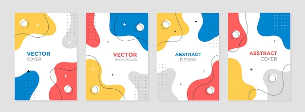 Набор абстрактных красочных геометрических шаблонов дизайна обложки