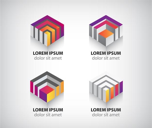 抽象的なカラフルな幾何学的な立方体のロゴのセット
