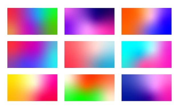 Набор абстрактных красочных градиентных фонов. современные размытые цветные фоны.