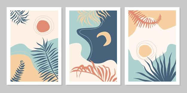 太陽、月、星、海、山、川、植物の抽象的なカラフルな風景ポスターコレクションのセットです。ベクトルフラットイラスト。現代アートの印刷テンプレート、ソーシャルメディアの背景。