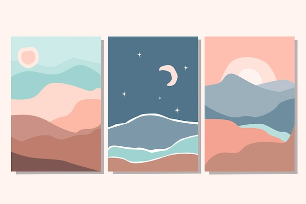 太陽、月、星、海、山、川の抽象的なカラフルな風景ポスターコレクションのセットです。ベクトルフラットイラスト。現代アートの印刷テンプレート、ソーシャルメディアの背景。