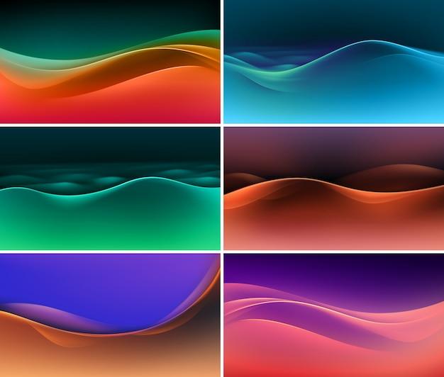 Набор абстрактных красочных разноцветных волн фонов