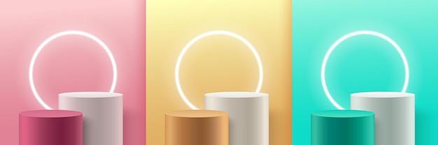 Набор абстрактных красочных круглых дисплеев. пастель с подиумом.