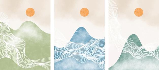 山の風景と抽象的な現代的な美的背景のセットです。ミニマリストデザイン。