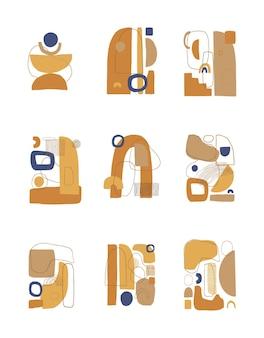抽象的な現代的なコラージュポスターまたはカードテンプレートのセット