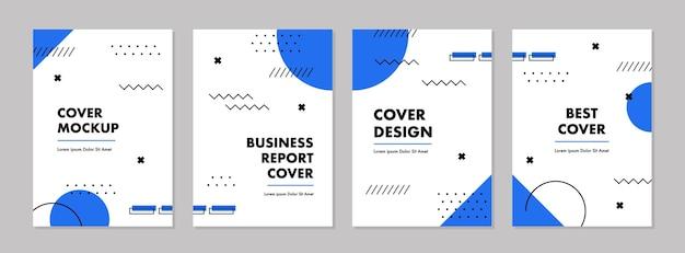 幾何学的な形の抽象的なカバーとカードデザインのセット