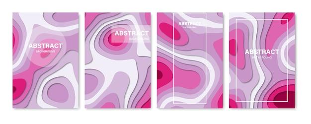 抽象的なカバーの背景のセット。紙カット形状。