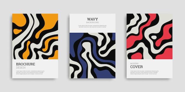 手描きスタイルの波状の抽象的なカバーのセット