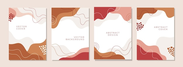 抽象的な創造的な芸術的なカバーデザインのセット
