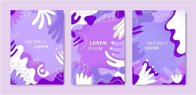 추상 크리 에이 티브 카드 세트, 다른 모양과 질감으로 다룹니다. 현대 그래픽 콜라주 디자인.