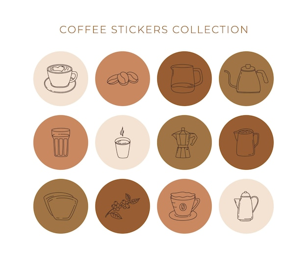 抽象的な創造的なコーヒー線形アイコンのセット