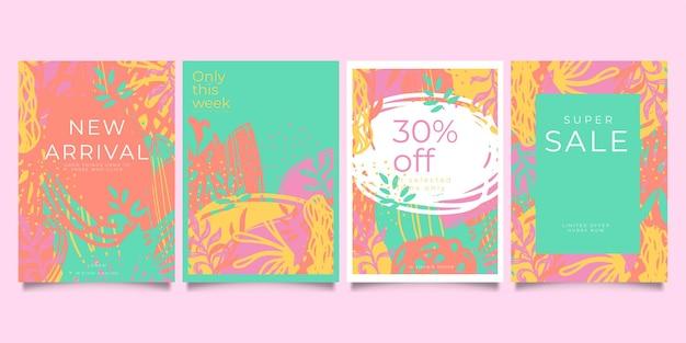 抽象的な創造的な普遍的な芸術的なテンプレートのセット。ポスター、カード、招待状、チラシ、表紙、バナー、プラカード、パンフレット、その他のグラフィックデザインに適しています。
