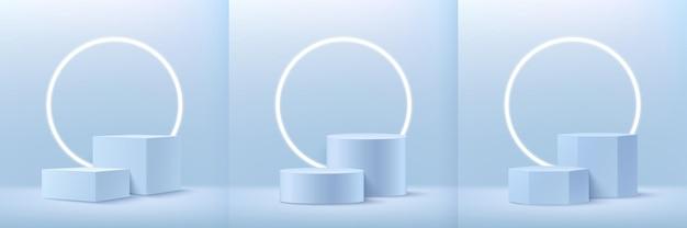 製品プレゼンテーション用の抽象的な立方体の円形と六角形のディスプレイのセット