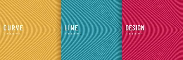 Набор абстрактных кривых радиальных линий с розовым, синим, зеленым, оранжевым, желтым фоном