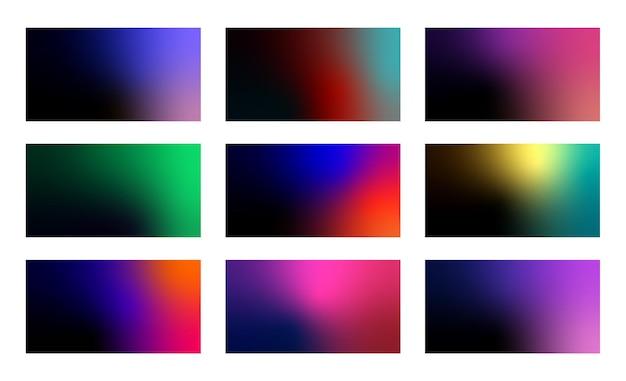 Набор абстрактных темных фонов градиента. современные минималистичные фоны.