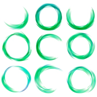 Set of abstract design in green