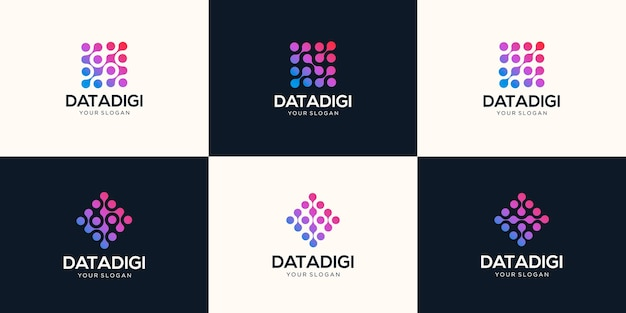 抽象的なデジタル技術のロゴのセット