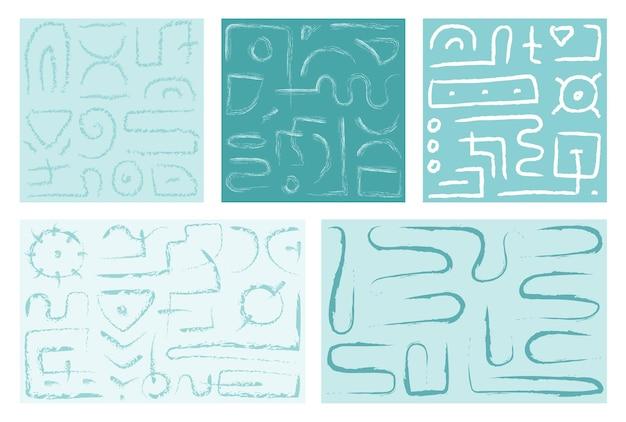 抽象的な落書きの背景のセットシームレスパターン