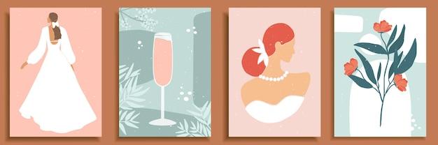 추상 여성 모양과 실루엣의 집합입니다. 파스텔 색상의 웨딩 드레스를 입은 추상 여성 초상화. 샴페인, 알코올, 유리에 칵테일. 꽃 구성입니다.