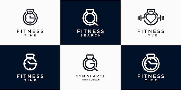 抽象的なフィットネスジムのロゴデザイン、ジム検索、ジム時間のセット。プレミアムベクトル