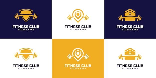 Набор абстрактного дизайна логотипа тренажерного зала фитнеса.