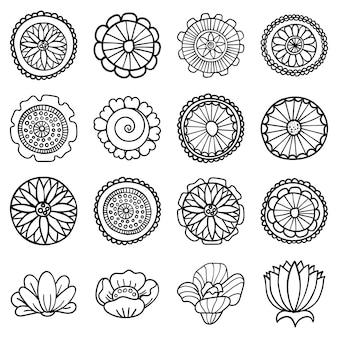 抽象的な花のセット。落書きスタイル