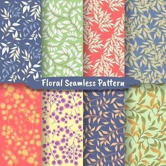 抽象的な花のシームレスなパターン、花のシームレスなパターンコレクションのセット