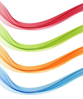 抽象フロー透明色波のセットです。ダイナミックな波線