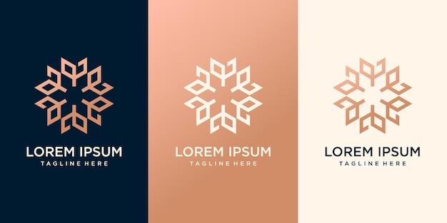 抽象的な花のロゴのプレミアムベクトルのセット