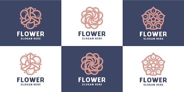 抽象的な花のミニマリストラインの美しさのセット