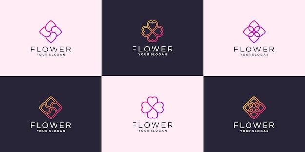 ユニークな色のプレミアムベクトルと抽象的な花のバラのロゴテンプレートのセット