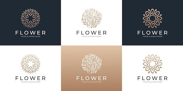 잎 로고 디자인 영감이 있는 추상 꽃 세트.