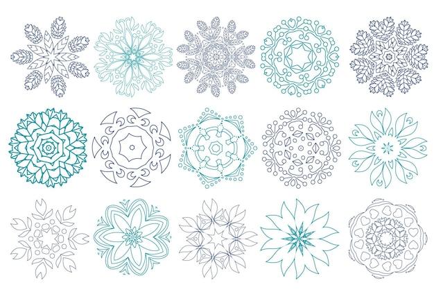 추상 꽃의 집합입니다. 선형 아이콘입니다. 스파 살롱, 화장품 매장, 에코 및 천연 제품을 위한 디자인. 귀하의 비즈니스를 위한 로고. 벡터 일러스트 레이 션.